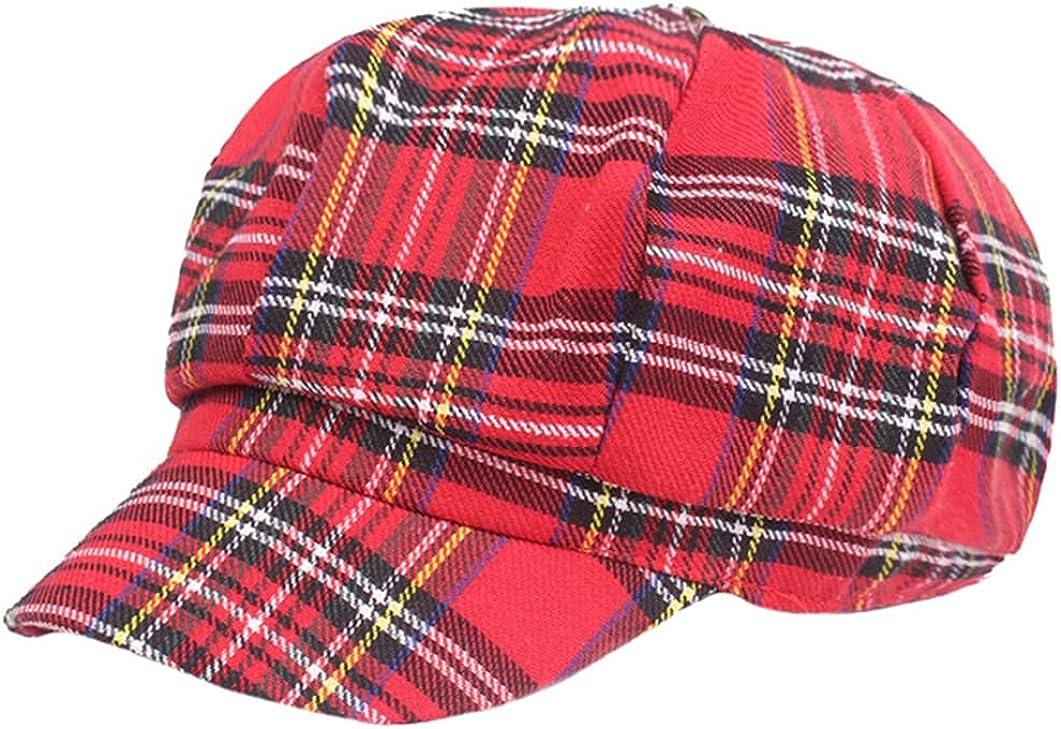 British Style Women Plaid Beret Hat Square Retro Elastic Newsboy Octagonal Caps