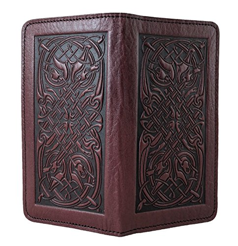 Oberon Design Celtic Hounds Embossed Genuine Leather Checkbook Cover, 3.5x6.5 Inches, Wine, Made in the USA