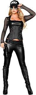 Fishnet Faux Leather Swat Agent Costume