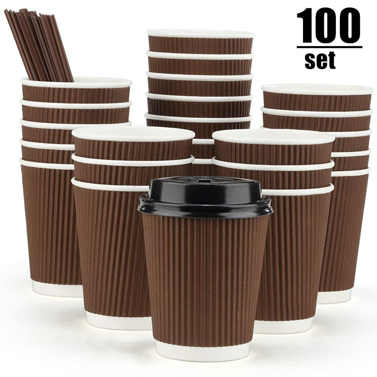 Eupako 8 oz Disposable Coffee Cups 100 Pack Ripple Wall Paper Cups To Go, Insulated Corrugated Cups with Lids and Straws, Perfect for Hot and Cold Drinks