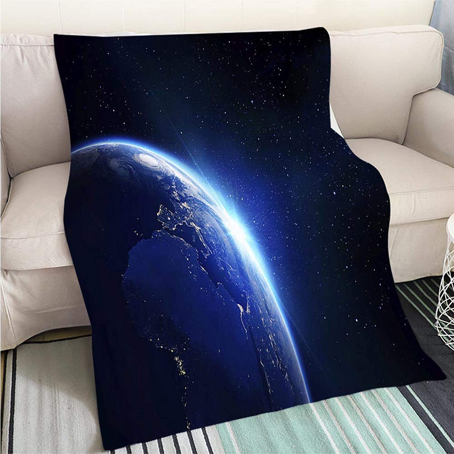 BEICICI Breathable Flannel Warm Weighted Blanket Earth bluee Shining Sunrise Sofa Bed or Bed 3D Printing Cool Quilt