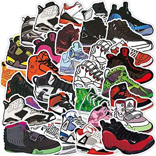 WYDML Zapatillas de Baloncesto Vintage, Pegatina para Zapatos de Moda, monopatín, portátil, Motocicleta, Pegatina Fresca, Pegatina Impermeable, Juguete clásico para niños, 100 Uds.