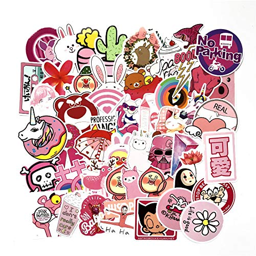HHSM Pink Girl Art Trolley Case Sticker Cute Waterproof Personality Guitar Skateboard Graffiti Car Stickers 100 pcs
