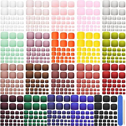 560 Piezas 20 Set Uñas de Pies Postizas Artificiales Kit de Puntas de Uñas de Pies de Cubierta Completa de 14 Tamaños con Lima y Palo de Uñas para Decoración de DIY de Salón de Uñas