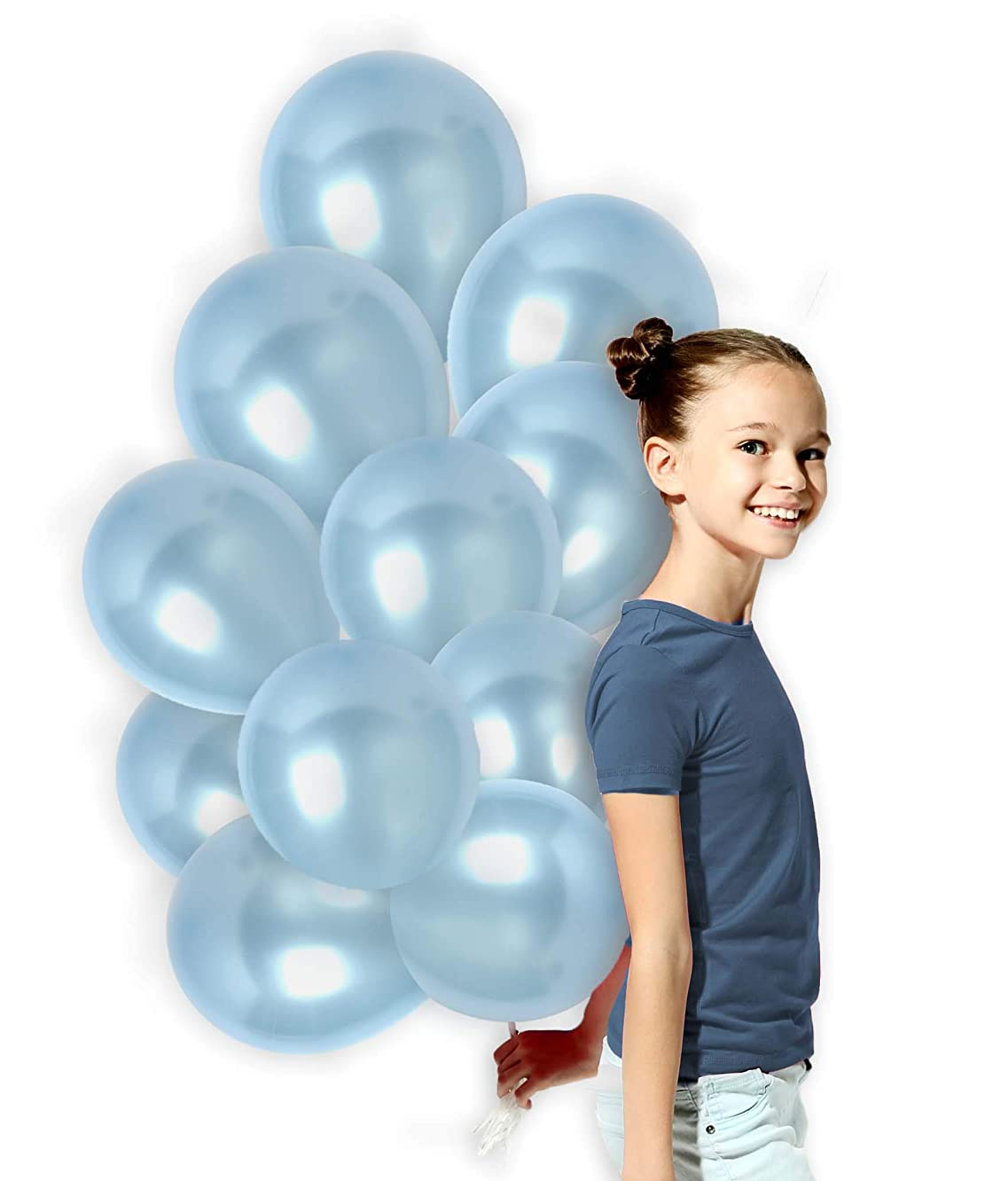 Metallic Light Baby Blue 12 Inch Latex Pastel Balloons with Ribbons for Gender Reveal Wedding Bridal Shower and Birthday Party Pearl Decorations (100 Pack)