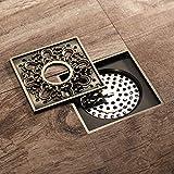 ZGQA-GQA Kupfer Grün Antik Bronze-Platz-Blumen-Netz-Muster Badentwässerung Gerät Deodorant Waschmaschine Bodenablauf 10 * 10cm haltbar