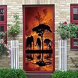 N-A Puerta 2PCS / Set engomada del PVC Autoadhesivo Impermeable extraíble 3D Decoración Estante del Vino Etiquetas de DIY Arte de Pared Pegatinas Porte (Color : DZMT030, Sticker Size : 77x200cm)
