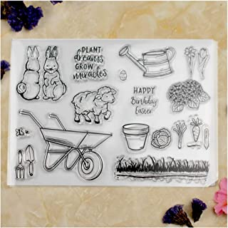 Kwan Crafts Happy Easter Rabbit Sheep Gardening Flowers Clear Stamps for Card Making Decoration and DIY Scrapbooking