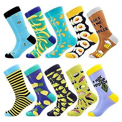 Men's Fun Dress Socks Patterned Crew Colorful Funky Fancy Novelty Funny Casual Socks for Men