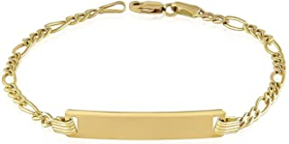 TousiAttar Baby Id Bracelet - Unique Jewelry Gift for Her and Him - Yellow Authentic 14k Gold Bar Bracelets - Personalized and Engraving With Name - Size 5'' to 6.5''