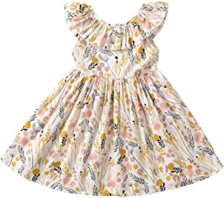 Toddler Baby Girl Sun Dress Wildflower Floral Seaside Beach Dress Overall Outfits Onepiece