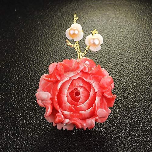 Roze schaal poeder pioen bloem broche steek voor vrouwen jurk elegante zoetwater parel broche
