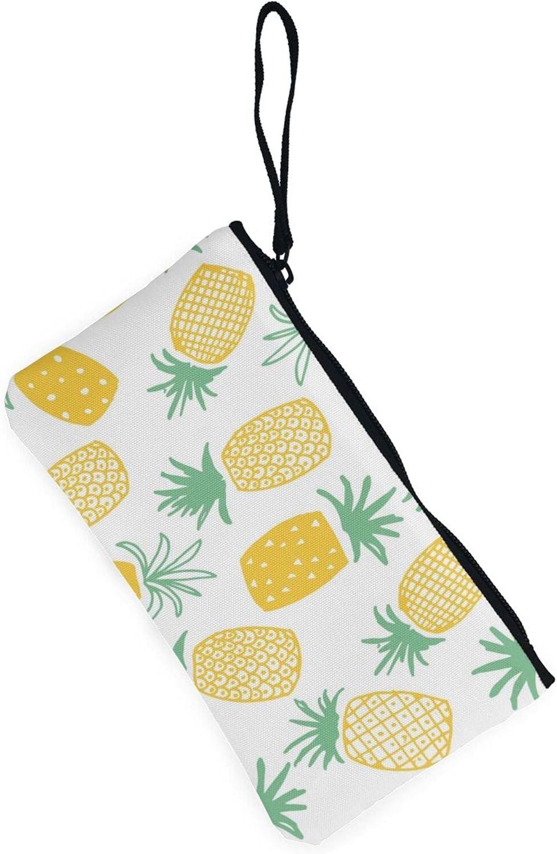 AORRUAM Pineapple Canvas Coin Purse,Canvas Zipper Pencil Cases,Canvas Change Purse Pouch Mini Wallet Coin Bag