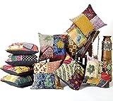 Aakriti Gallery - Juego de 5 fundas Kantha para cojines, mixtas, de algodón, para el sofá, hecho a mano, parche Sari, decoración del hogar de estilo vintage (41 x 41 cm, mezcla)