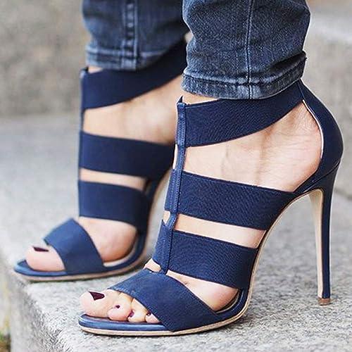 MAOMEI Chaussures à Talons, Chaussures Romaines, Sandales à Talons Hauts élastiquées, Chaussures pour Femmes de Grande Taille, 11,5 cm