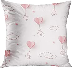 Llsty Throw Pillow Cover 18 x 18 inches Valentines Hearts Balloons People Flying Polyester Soft Square for Couch Sofa Bedroom