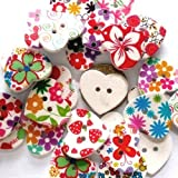 Charming Beads Pacco 10 x Misto Legno 25mm Bottoni Cuore (2 Fori) - (HA09795)