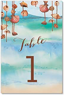 Island Beach Table Numbers Pack of 25 Seaside Tropical Shells Theme Décor Reserved Seating Single Sided 4