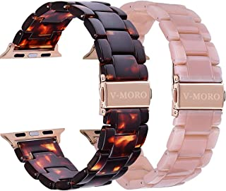 V-MORO Compatible Apple Watch Band 42mm 44mm Women Men- Fashion Resin iWatch Band Bracelet with Copper Stainless Steel Buckle for Apple Watch Series4 Series 3 Series 2,Series1 (Tortoise+Pink, 42mm)