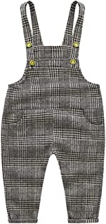 Toddlers Boys Girls Knit Stripe Plaid Pattern Overall Suspender Long Pants Size 90 (Lattice)