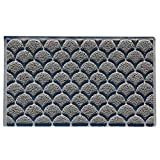 Nicoman Fan Shape Door Mat|Fish Scales Style Floor Mat|Patio Garden Kitchen Doormat|Matt for Indoor or Sheltered Outdoor Use(Grey, 75x44cm)