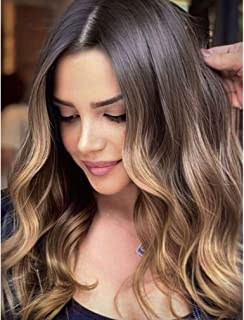 Ombre Blonde Long Body Brown Wigs for Women Synthetic Middle Part Wig Natural Looking Wig for Daily Use Heat Resistant Fib...