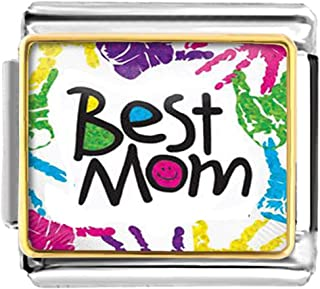 LuckyJewelry Mothers Day Best Mom Nomination Etched Italian Charm Sale fit Bracelet Link