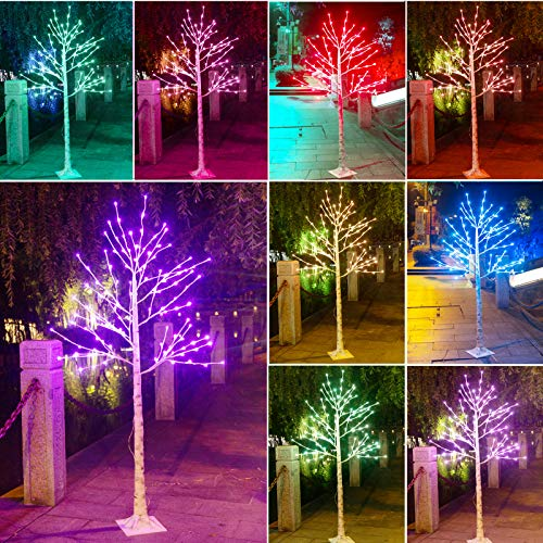 Elnsivo Lit Birch Tree Lighted 6ft Led Tree Remote Control 120Led 16Color Changing Light Up Multicolor Branch Tree Lights for Bedroom,Party,Wedding,Festival Use Christmas Decor (Colorful)