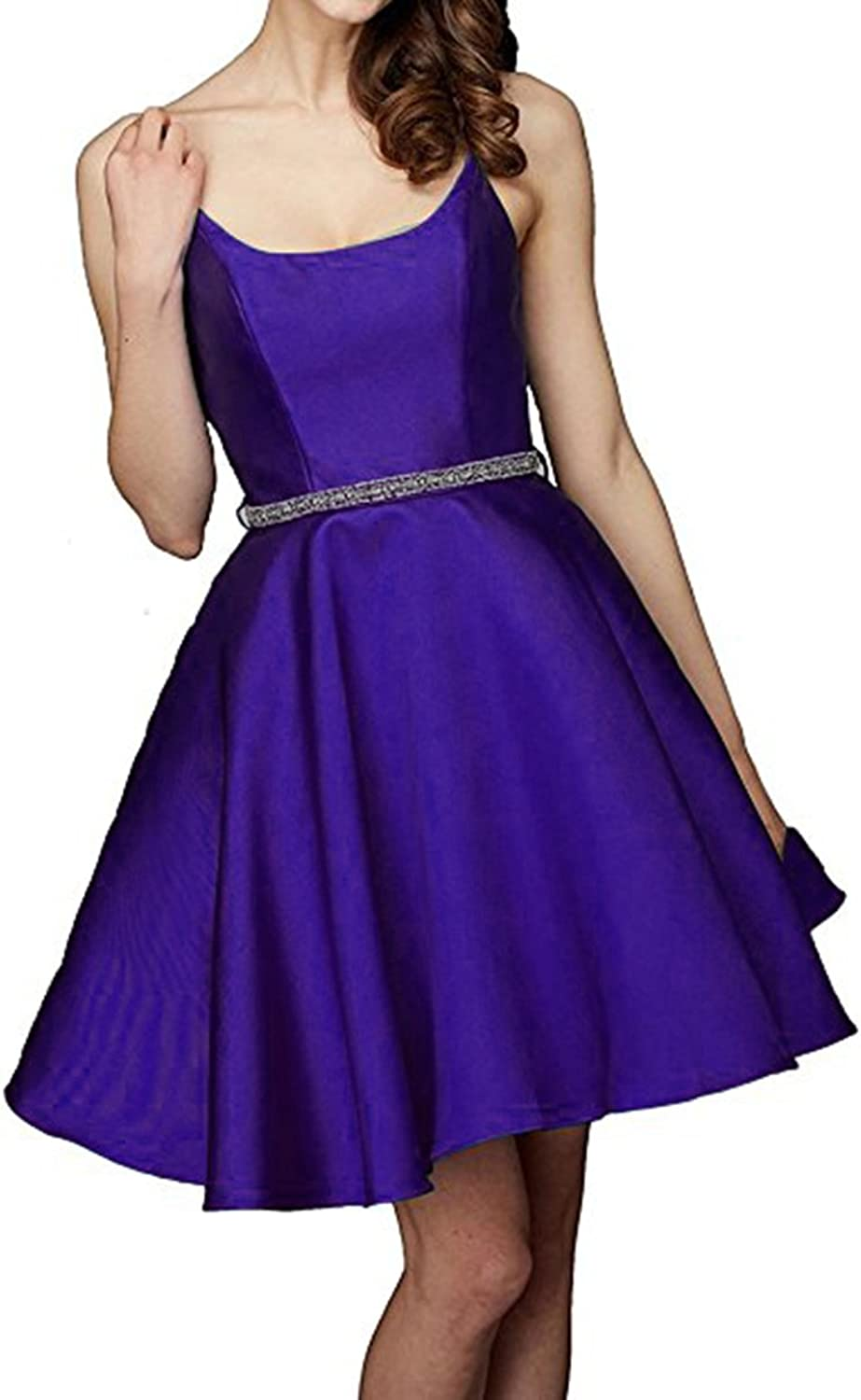 Alilith.Z Sexy Open Back Short Homecoming Prom Dresses Cocktail Evening Party Dresses for Women with Beaded Sash