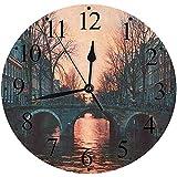 Yaoni Silencioso Wall Clock Decoración de hogar de Reloj de Redondo,Colección Wanderlust, por la Noche en Amsterdam Países Bajos Escandinavo Northern Lights Ri,para Hogar, Sala de Estar, el Aula