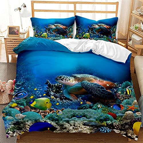 YMXNBMJ - Juego de funda de edredón con diseño de dibujos animados 3D con funda de almohada, diseño Sea Life, reversible, 100% poliéster, para niños y niñas (A,220 x 260 cm)