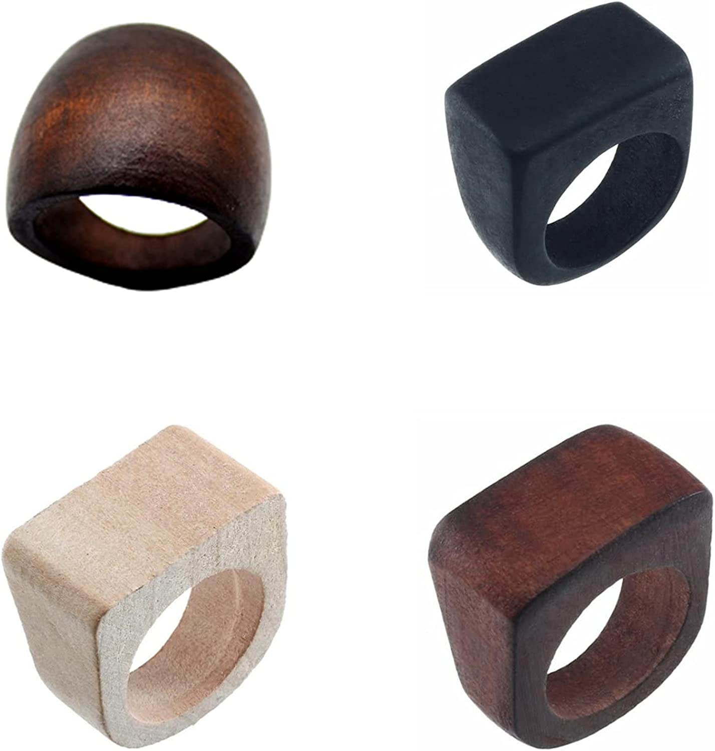 Original Natural Wood Rings Handmade Retro Geometric Round Statement Rings Vintage Bohemia Wooden African Ethnic Ring Jewelry for Women Girl