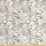 Lunarable Seashells Fabric by The Yard, Vintage Style Illustration Pile of Aquatic Ocean Wildlife Theme, Decorative Fabric for Upholstery and Home Accents, 2 Yards, White Beige
