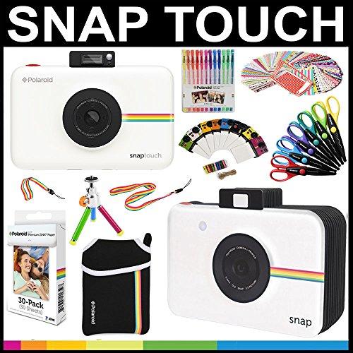 Polaroid Snap Touch Sofortdruck-Kamera Geschenk-Paket + ZINK-Papier (30 Blätter) + Schnappschuss-Sammelalbum + Tasche + 6 Bastelscheren + 100 Rahmenaufkleber + farbige Gelschreiber + Rahmen + Zubehör.