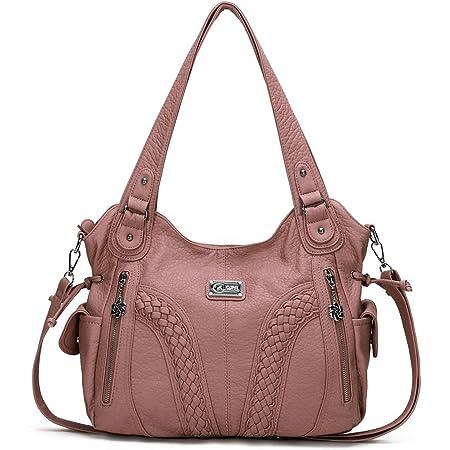KL928 Damen Handtasche Leder Taschen Umhängetaschen Schultertaschen Henkeltaschen Hobo Tasche Weiches Damentasche für Frauen (Pink)