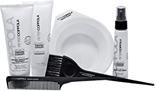 Peter Coppola Keratin Hair Treatment Kit - At Home Keratin Treatment - Includes: Treatment (3oz) Shampoo (3oz) Bowl, Just Blow Spray (3zz), Brush and Comb. Straightens and Smooths All Hair Types