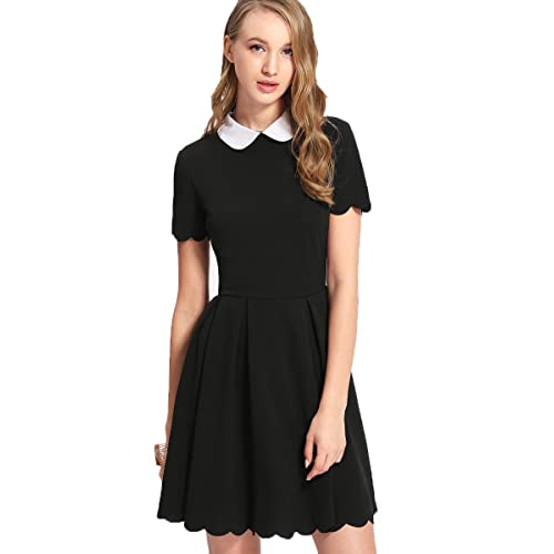 9aa6e7b4f84 Floerns Women s Casual Swing Tshirt Dress Flowy Simple Contrast Collar 3 4 Sleeve  Dresses