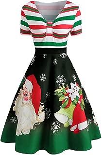 Dunacifa Womens Short Sleeve Christmas Dress Stripe Santa Claus Print V-Neck Vintage Swing Party Dress