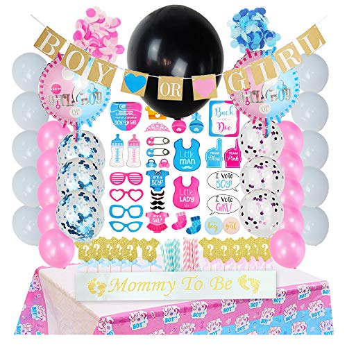 Ho Ho Gender Reveal Party Supplies for Boy or Girl,148 Pieces Baby Shower Decorations Set with Blue Pink Balloons,Paper Straws,Confetti,Boy or Girl Banner,Reveal Tablecloth Party Kit.