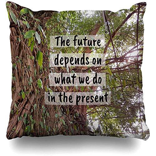 SSHELEY kussensloop uitdaging inspirerende citaat toekomst hangt af van het leven Welke natuurprestatie actie Mooie geloven, kussensloop