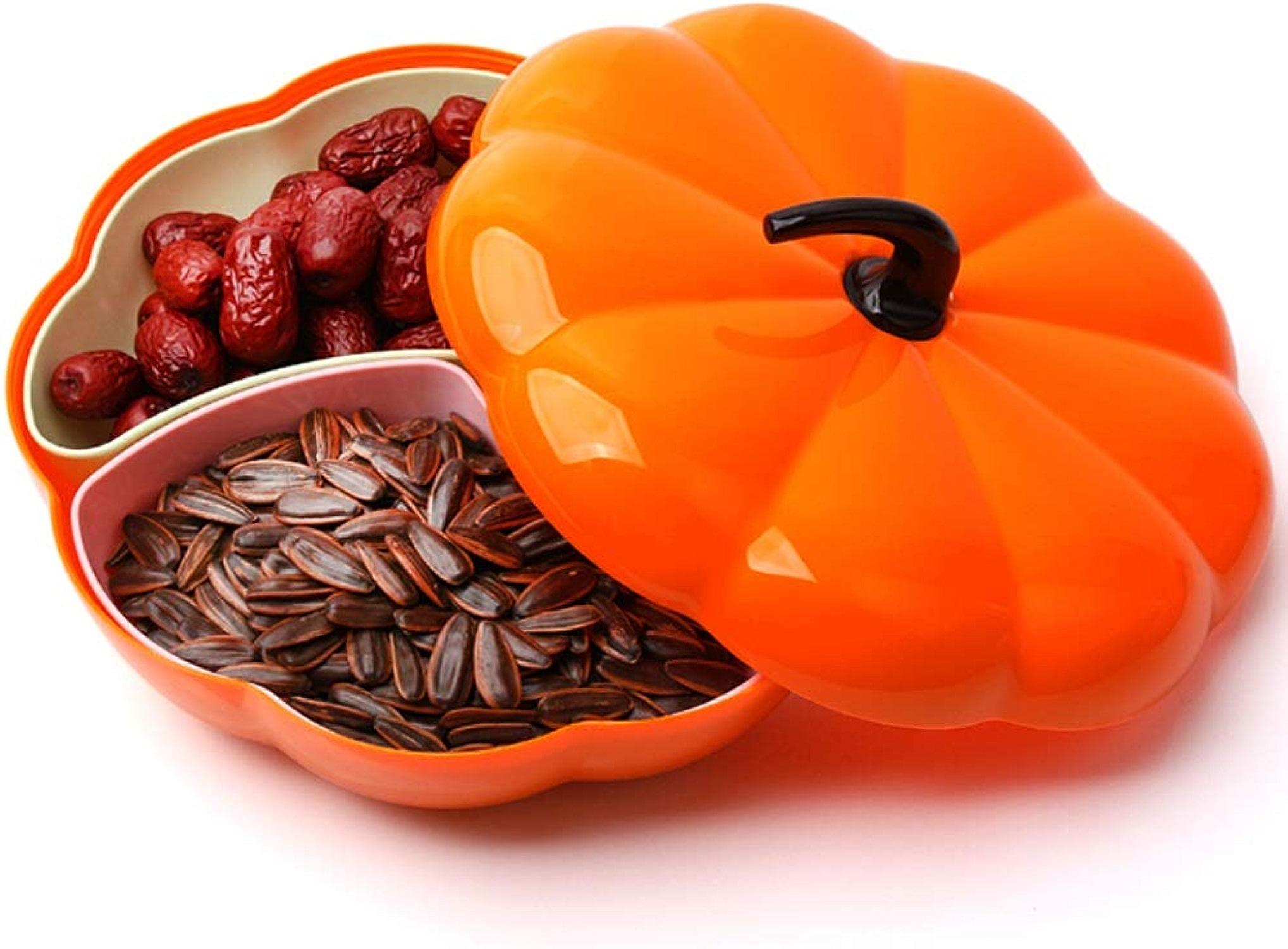 MING'FRUIT Panier à fruits créatif en plastique graines avec grille porte-fruits bonbons noix fruits secs fruits présentoir forme de citrouille - Orange -0923
