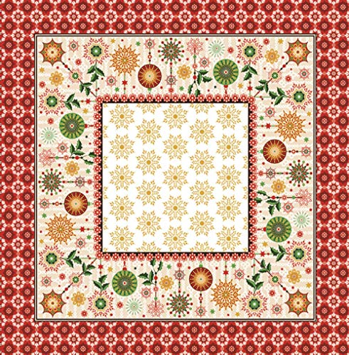 AdonisUSA Decorative Christmas Small Square Tablecloth Table Topper with Santa, Red Bows, Hollies and Poinsettias-Red, Gold and Green. Size: 30' inch Square (Celebrations with Ornaments)