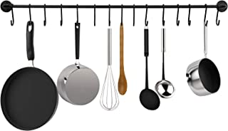 Greenco GRC30756 Pot And Pan Wall Mounted Rail With With 15 Hooks, Black