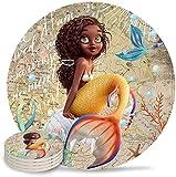 Juego de 4 posavasos para bebidas - Posavasos de cerámica absorbente de humedad con base de corcho, adecuado para tipos de tazas y tazas Ocean Cute Black Girl con cola de pez en el mapa del mundo-Me