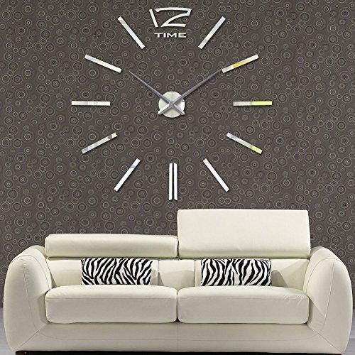 FAS1 Moderne DIY große Wanduhr Big Watch Aufkleber 3D Spiegel Effekt Acryl Wanduhr Home Office Dekoration für Wohnzimmer – Silber (Batterie Nicht im Lieferumfang enthalten)