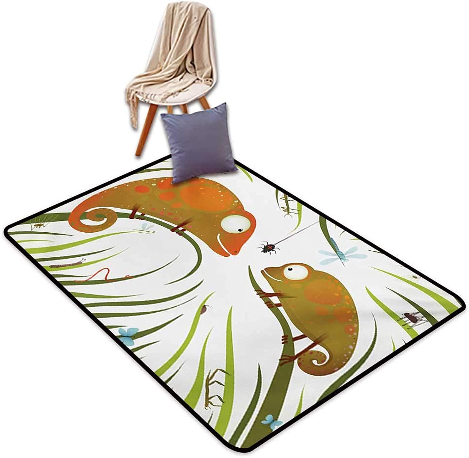 Chameleons Indoor Super Absorbs Mud Doormat Hungry Animals Grass Looking at Spider Insect World Illustration Worm Ladybug Water Absorption, Anti-Skid and Oil Proof 48  Wx71 L Multicolor