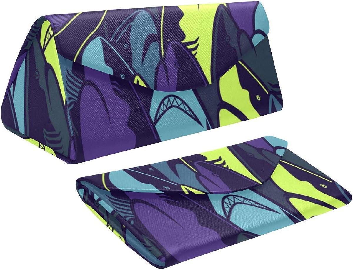 Glasses Case Funny Sharks Eyeglass Case Leather Magnetic Folding Hard Case Sunglasses Eyewear Protective Case