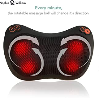 Sophia & William Massage Pillow Back Neck Shiatsu Massager with Heat Deep Tissue Kneading, Use at Home Office Car, Excellent Gift