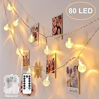 YOZATIA Globe String Lights Battery Operated Warm White Waterproof, 32.8ft 80 LED Crystal Ball String Lights 8 Modes with Remote Control, Perfect for Indoor, Outdoor, Bedroom, Party, Christmas, Garden