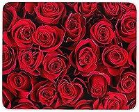 16 X 24インチマウスパッド、美しい赤いバラバレンタインマウスマットパッド-女性'sコンピューター楽しいギフト